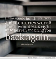 If tears could build a stairway and memories were a lane, I would walk right up to heaven and bring you back again.