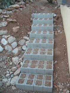 diy cinder block steps -