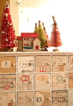 Advent calendar. #Christmas #trees #drawers #advent #calendar