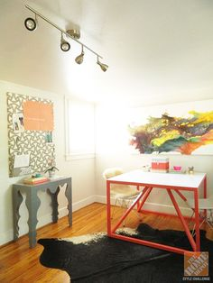 diy ideas, track lighting, challenges, home office spaces, diy desk, color, paint, blog, home offices