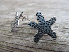 Handcrafted starfish earrings - hand sawn sterling silver by JoDeneMoneuseJewelry