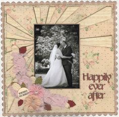Happily Ever After...Wedding Album - Scrapbook.com  The edge of this wedding layout was made with the Eyelet Punch from Martha Stewart Crafts.