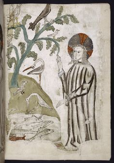 Full-page miniature of God creating birds and fish. (1445)