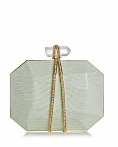 Something (almost) blue: Iris Lizard Box Clutch Bag by Marchesa.