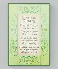 Irish Marriage Blessing Sign