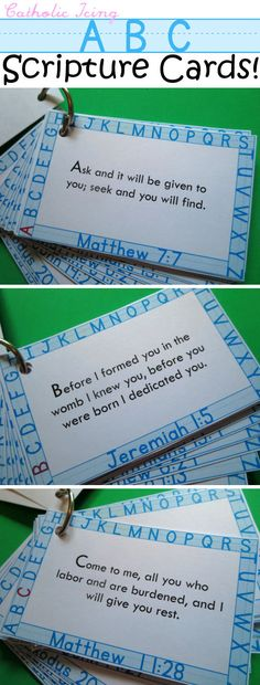 Printable ABC Scripture cards for CATHOLIC kids! Finally! Also, they're free to print. :-)