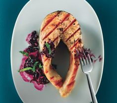 Grilled Salmon with Quick Blueberry Pan Sauce Recipe at Epicurious.com #myplate #protein