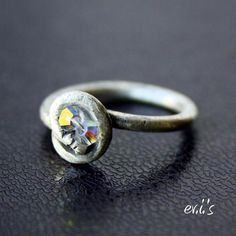 Handcrafted Sterling Silver Oxidized Ring with Crystals