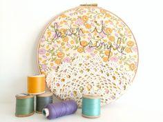 Doily Wall Art Embroidery Hoop 'Keep it simple' by ThreeRedApples