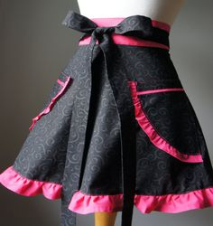 Hostess Half Apron with Black Swirls and Hot Pink Contrast makes this a perfect Hostess Gift for Her. $36.00, via Etsy.