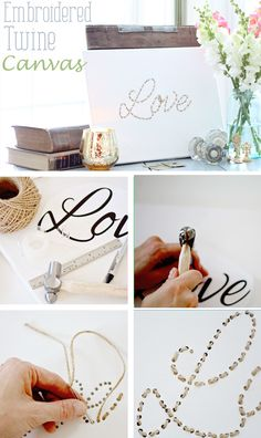 Embroidered Twine Canvas Love: Twine Embroidered Art Canvas Tutorial - Perfect for Valentine's Day @Laura Jayson Putnam - Finding Home