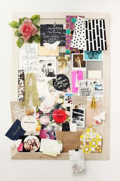 Inspiration board with quotes, pictures, patterns, ticket stubs and things that make you happy mood boards, pin boards, layer cakes, idea board, cork boards, bulletin boards, inspiration boards, style at home, home offices