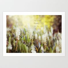 See the Light Art Print by Ivy Newport - #light #words #quote #love #sun #flowers #yellow #green #white