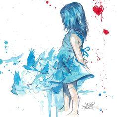 Blue Girl - I love this print art prints, lora zombi, blue girl