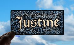 Stained Glass Window Fragment, Name, Justine, hand painted fragment : 23N11. $30.00, via Etsy.