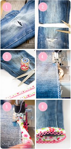 Turning torn jeans into shorts, using bias tape. These are darling!