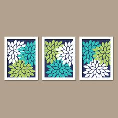 Turquoise Navy Blue Lime Green Custom Colors Flower Burst Dahlia Petals Artwork Set of 3 Trio Prints Decor Bedroom WALL ART Bathroom