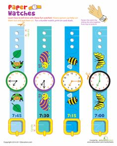Worksheets: Practice Telling Time with Play Watches: 7 O'Clock