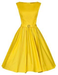 pastels, vintage, swings, hepburn style, dresses, rockabilly, vintag 1950s, yellow, swing dress