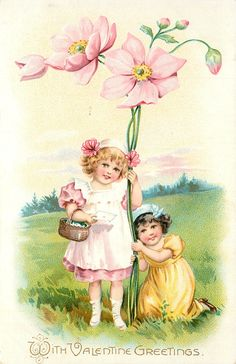 WITH VALENTINE GREETINGS  two girls hold exaggerated pink flowers