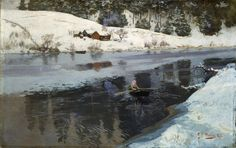 Frits Thaulow (Norwegian, 1847-1906), Winter on the River Simoa, 1883.