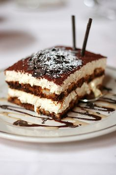 A good Tiramisù - Coffee, buiscuits and mascarpone cheese.