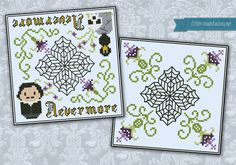 Nevermore biscornu  Cross stitch PDF pattern by cloudsfactory, $6.50
