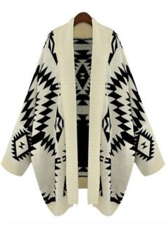 Apricot Batwing Long Sleeve Geometric Cardigan Sweater 2013 Winter Print Caped Knitted Sweatshirt Coat For Women Fashion Clothes on Aliexpre...