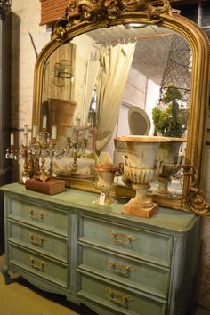 Spectacular mirror, painted dresser.  #frenchdecor, #paintedfurniture at www.chartreuseandco.com/tagsale