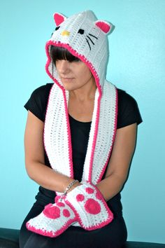 Crochet Hello Kitty Inspired Scarf Hoodie (Scoodie) have to make this for my sis Dea!