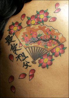 japanese fan cherry blossom writing