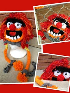 Crochet Muppet Animal Beanie Hat