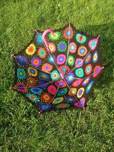 Granny Square Parasol #crochet #rainbow #parasol #umbrella #lace