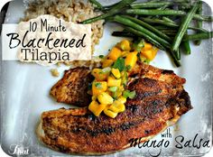 Looking for a fast & healthy dinner recipe? This Blackened Tilapia with Mango Salsa is AMAZING! It only 10 minutes from start to finish! #fish #grilling #summer