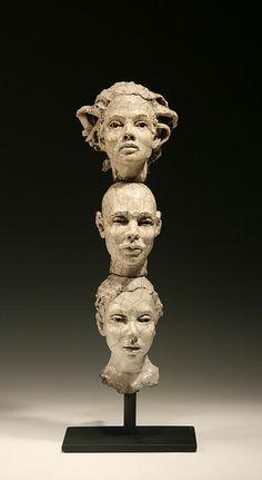 Three Head Stack raku 6-11-L-Bob Clyatt Sculpture    Contemporary realism sculpture, Raku fired stoneware sculpture, ceramic figurative sculpture