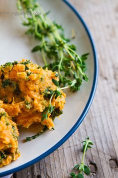 Kale & Goat Cheese Mashed Sweet Potatos