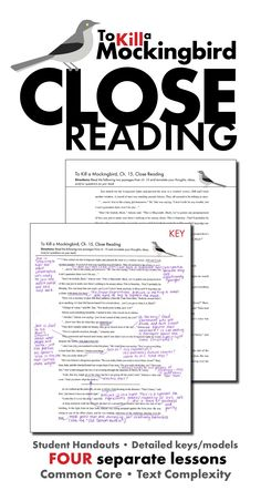 Help your students learn how to dig deep into analyzing text with these FOUR SEPARATE CLOSE READING LESSONS to use with Harper Lee's classic novel, To Kill a Mockingbird.