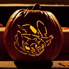 Stitch Witch Pumpkin Carving Template