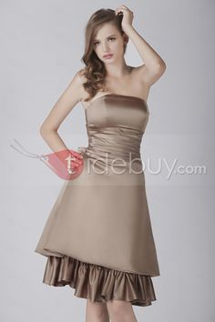 Attractive A-Line Floor-length Strapless Poly Beading Aleksander's Bridesmaid Dress