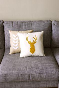 Mustard & Natural Decorative Deer Pillow Cushion  - Deer Head Buck 14X14 - yellow and beige. $38.00, via Etsy.
