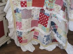 Patchwork Quilt 'Thinking outside the box'  Perfect farmhouse, cottage or shabby style decor. In red, yellow and blues with floral, gingham and plaids prints.
