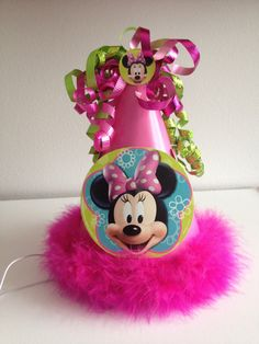 Disney, Minnie Mouse Party Hat, Hot Pink, Feather Boa, Birthday Party Hat, First Birthday Pictures,Minnie's Bowtique, Mickey Mouse Clubhouse. $10.50, via Etsy.