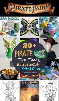 Disney's The Pirate Fairy: 20+ Fun Foods, Activities, and free printables/coloring pages via momendeavors.com #Disney