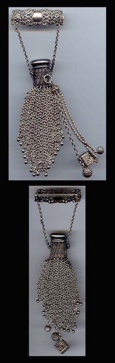 antique sterling pin purse with chatelaine dangles. $850