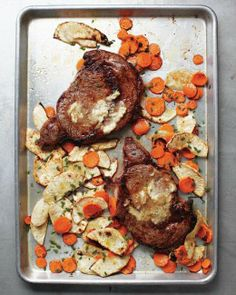 Sheet-Pan Suppers // Rib Eye with Horseradish Butter and Root Vegetables Recipe