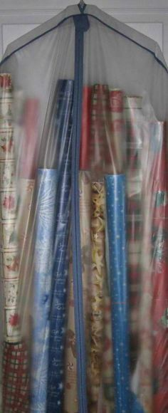 Use a garment bag to store wrapping paper!