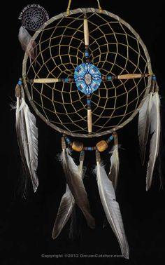 Painted Navajo Spirit Wheel With Blue Center (8 Inch) - DreamCatcher.com