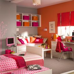 Bright, colorful teenage girl's bedroom. I like the whole room layout.