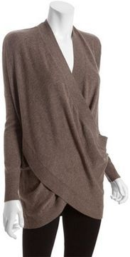 Wyatt oak cashmere blend crossover wrap sweater