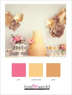 #Gold #ombre wedding cake and #dessert table